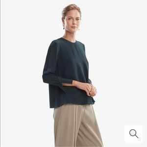 MM LAFLEUR Loretta Crinkle Silk Top Alpine Green